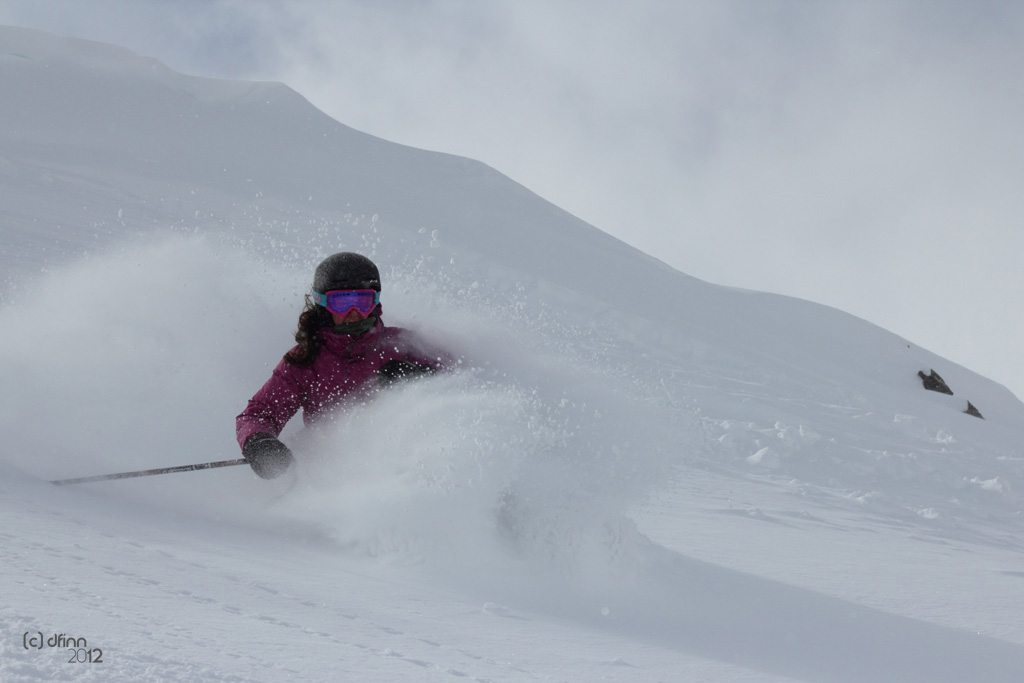 Stella Selden, skiing Alta Ski Area.