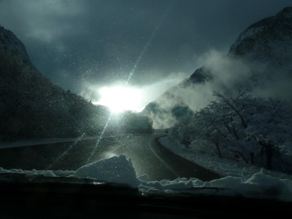 The road to Alta Ski Area.