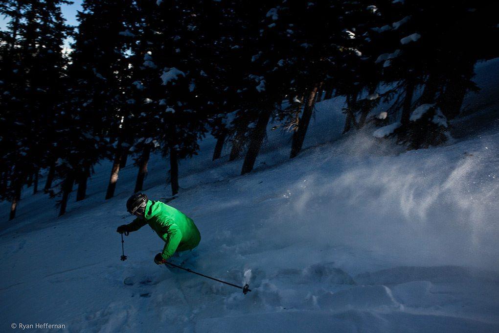 Jonathan Ellsworth, skiing in The North Face Enzo jacket at Taos Ski Valley.
