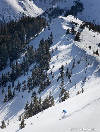 Jonathan Ellsworth, dropping into perfect, untracked powder, Taos Ski Valley.