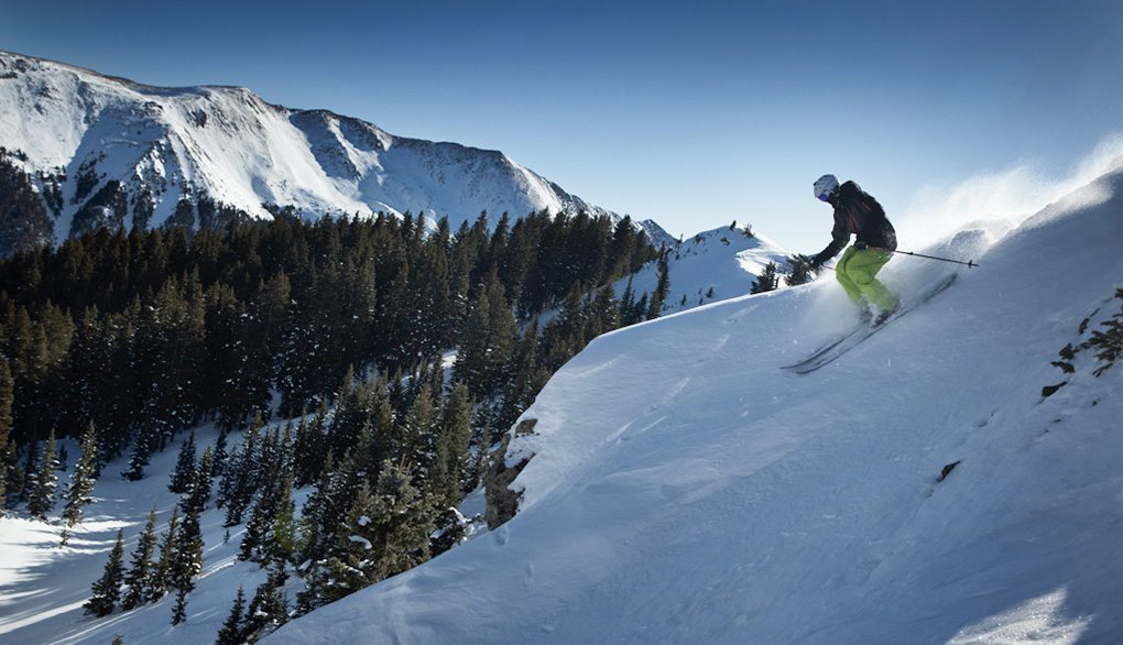 Will Brown on the Rossignol Scimitar, dropping off of Highline Ridge, Taos.