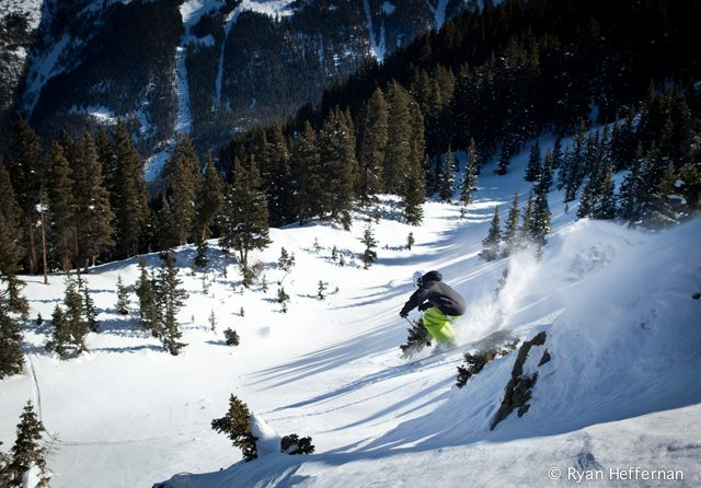Will Brown, popping off on Saturday on those Billy Goats, below Highline Ridge, Taos Ski Valley.
