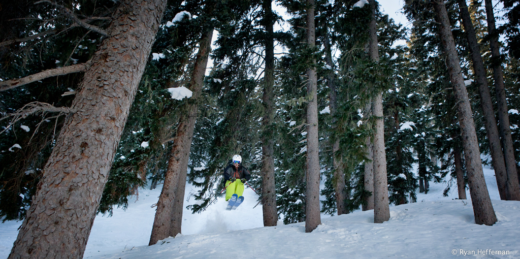 Will Brown, airing out of Corner Chute Trees, Taos.