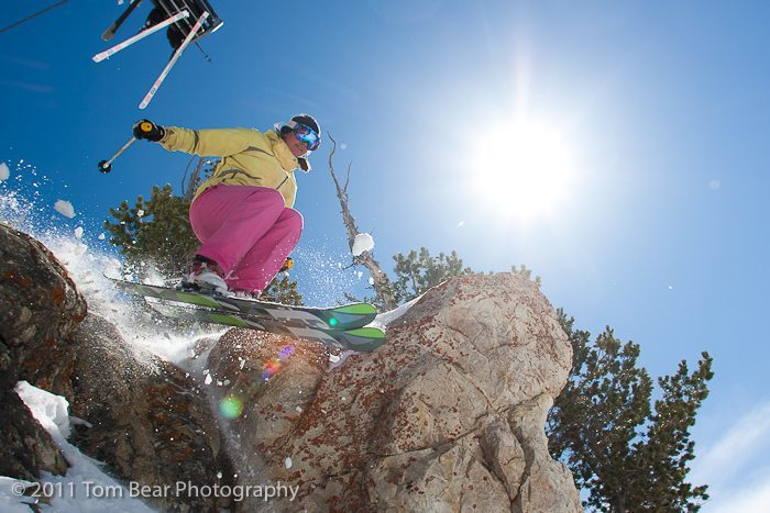 Kate Hourihan, sending it under the Supreme chair, Alta Ski Area.