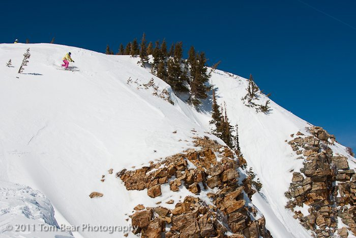 Kate Hourihan, approaching a cliff, Alta Ski Area.