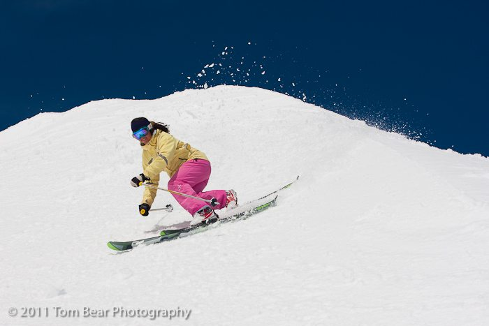 Kate Hourihan in a sweet telemark turn, Alta Ski Area.