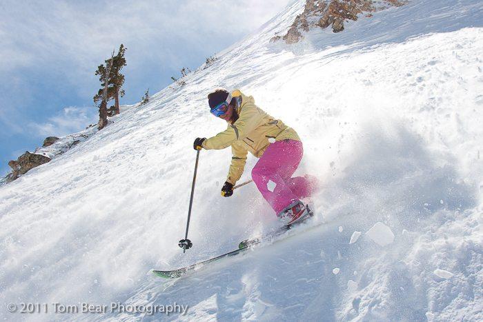 Kate Hourihan, in the spray, Alta Ski Area.
