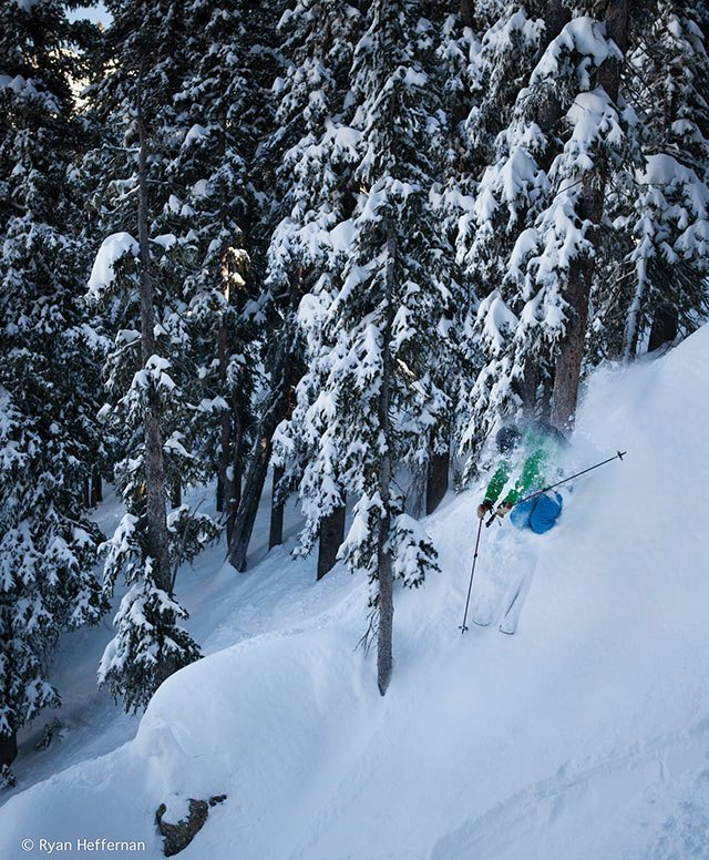 Jonathan Ellsworth, on a spine on the Line Influence 115, Taos Ski Valley.