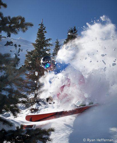 Jonathan Ellsworth blows through powder in the Patagonia Nano Storm Jacket at Taos Ski Valley.