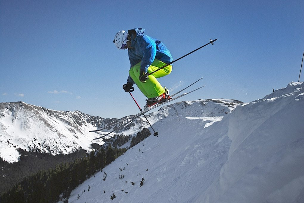Will Brown drops off of Highline Ridge at Taos on the Blizzard Cochise