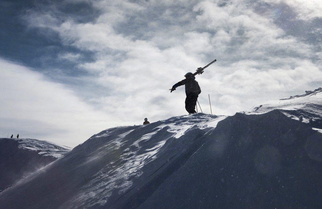 Hiker up on Highline Ridge, Taos Ski Valley.