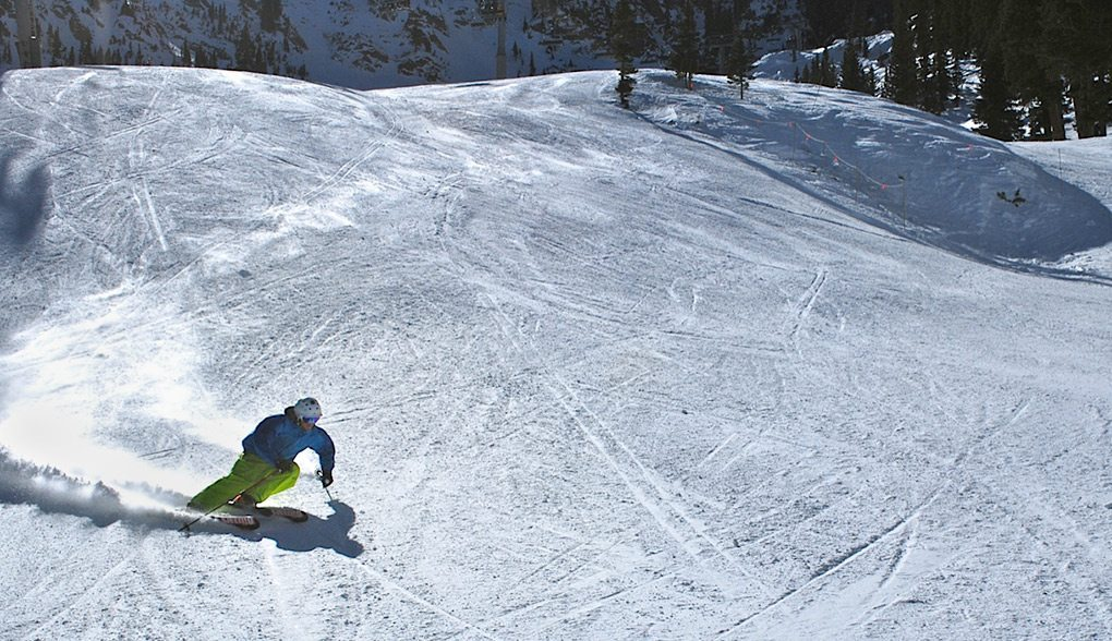 Will Brown, carving on the Blizzard Cochise, Taos Ski Valley.
