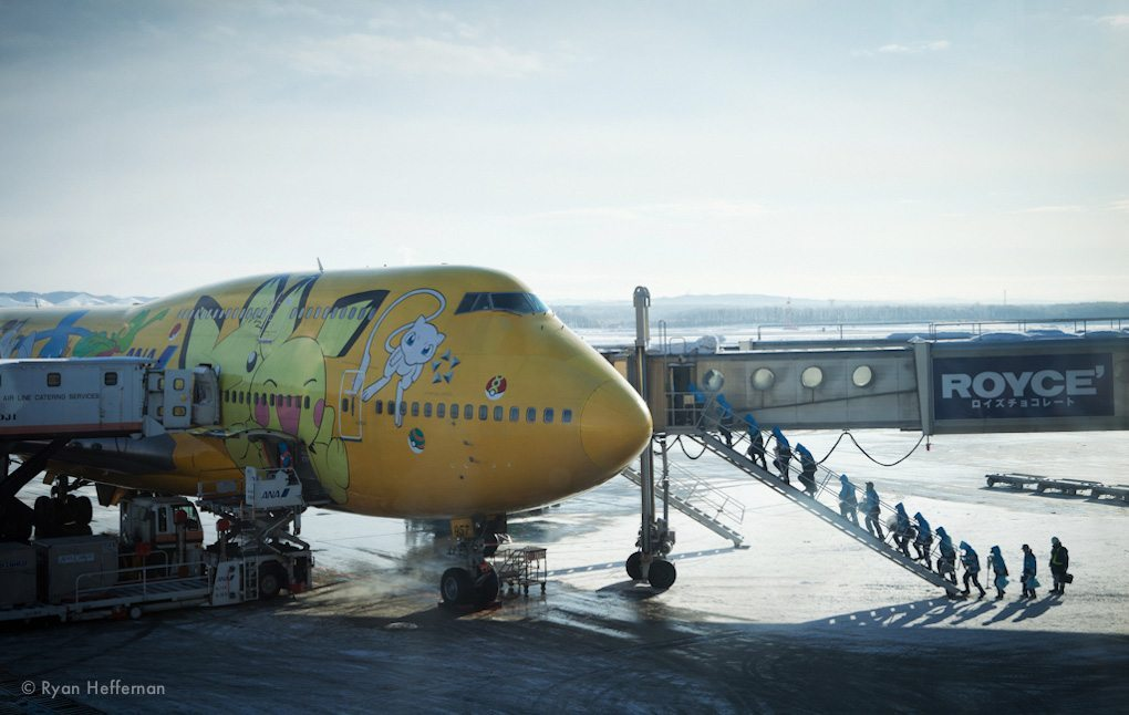 The Pokemon 747 we flew to get from Tokyo to Sapporo.