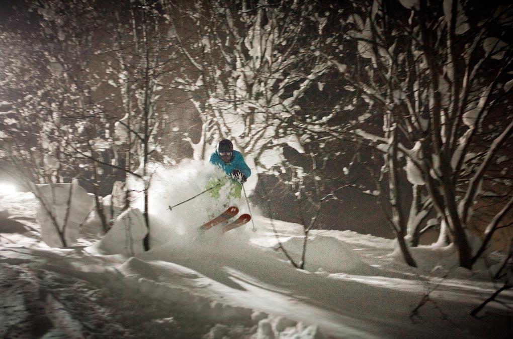 Night skiing in Niseko on the Line Mr. Pollard's Opus.