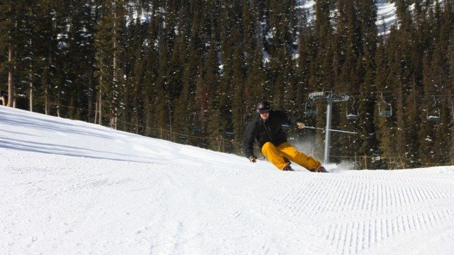 Jonathan Ellsworth, carving up Lower Totemoff at Taos Ski Valley.