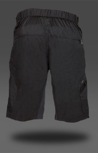 Rear mesh venting fabric, just below the waistband, on the Zoic Ether Short (Black)