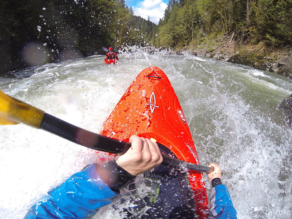 David Spiegel paddles the Skykomish River, Blister Gear Review