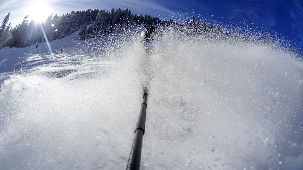Will Brown on the Blizzard Peacemaker (somewhere in there), Taos Ski Valley