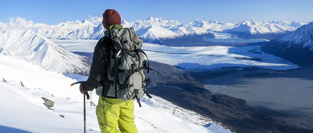 Paul Forward in the Patagonia PowSlayer kit, Northern Chugach, AK