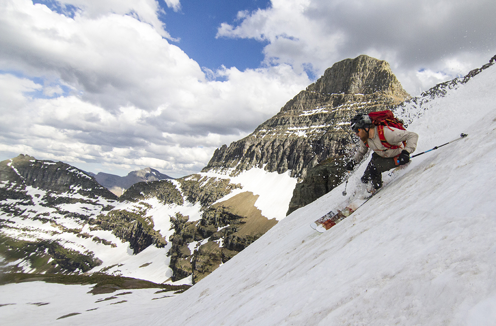 David Steele making turns in Glacier national Park.