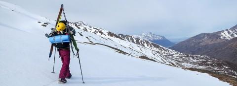 Utilizing the Heel welt with crampons. Chugach Backcountry, AK. Photo_ Paul Forward