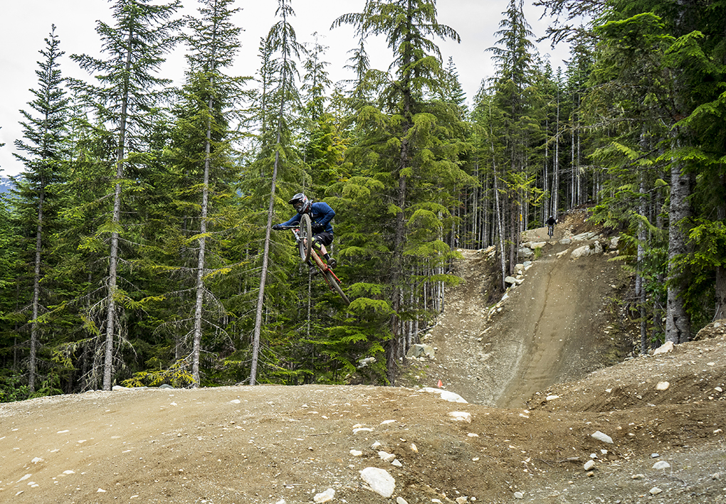 Noah Bodman on a Trek Session from Summit Sports, Whistler Bike Park. (photo by