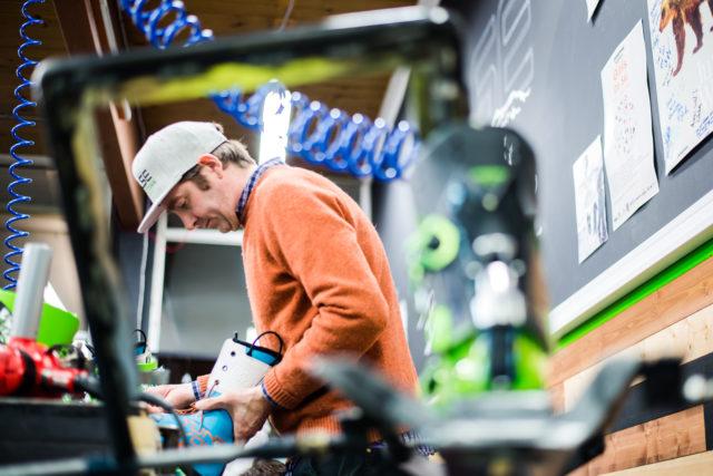 Kai Palkeinen at Pulse Boot Lab & Ski Co. in Revelstoke, CA.