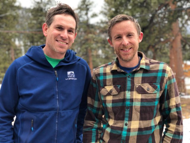 Erik Murdock from Access Fund and Tommy Caldwell in Estes Park