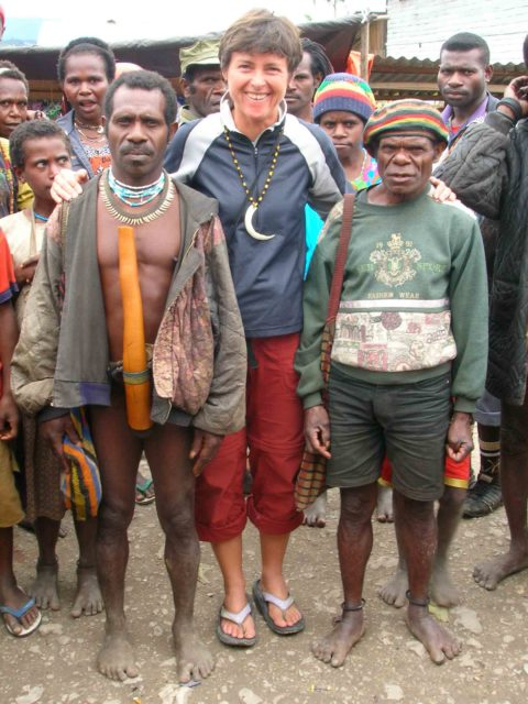 Angela Hawse in West Papua on an expedition to Carstenz Pyramid.