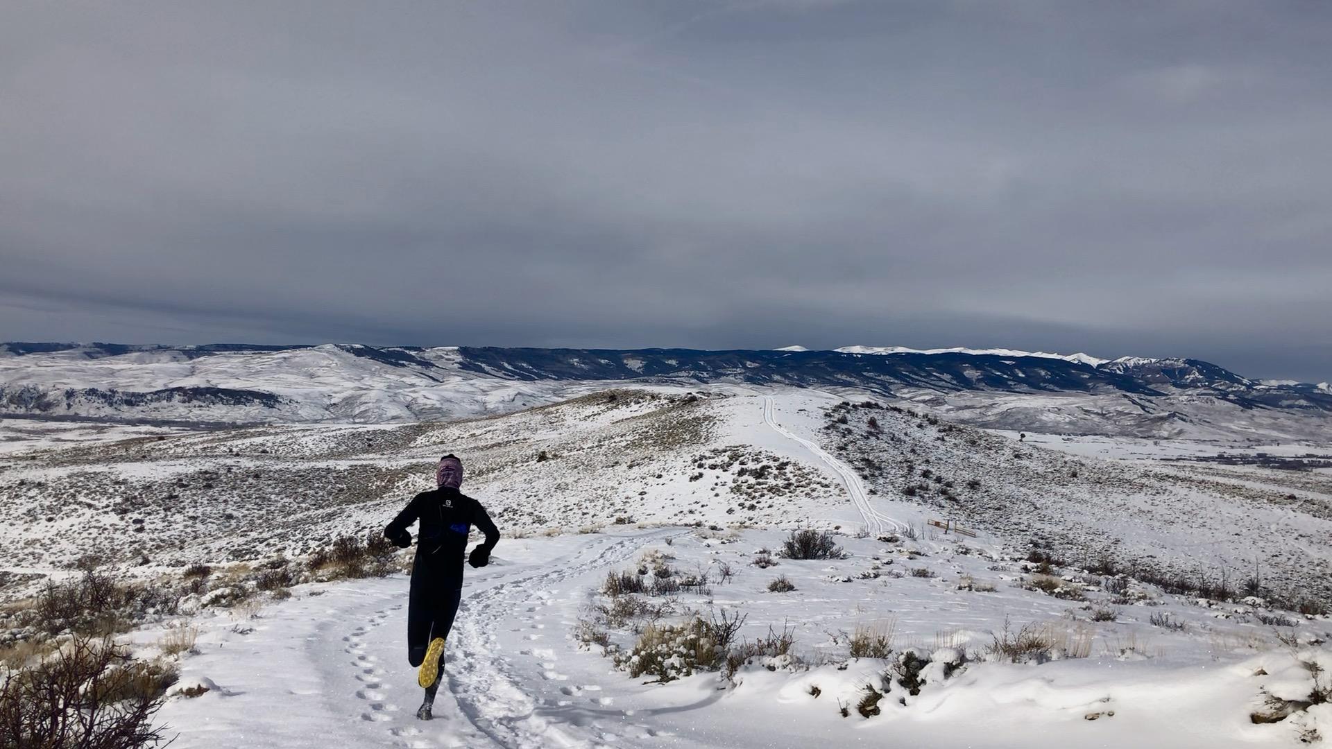 Gordon Gianniny running in the Salomon ADV Skin 5 Set, Gunnison, Colorado